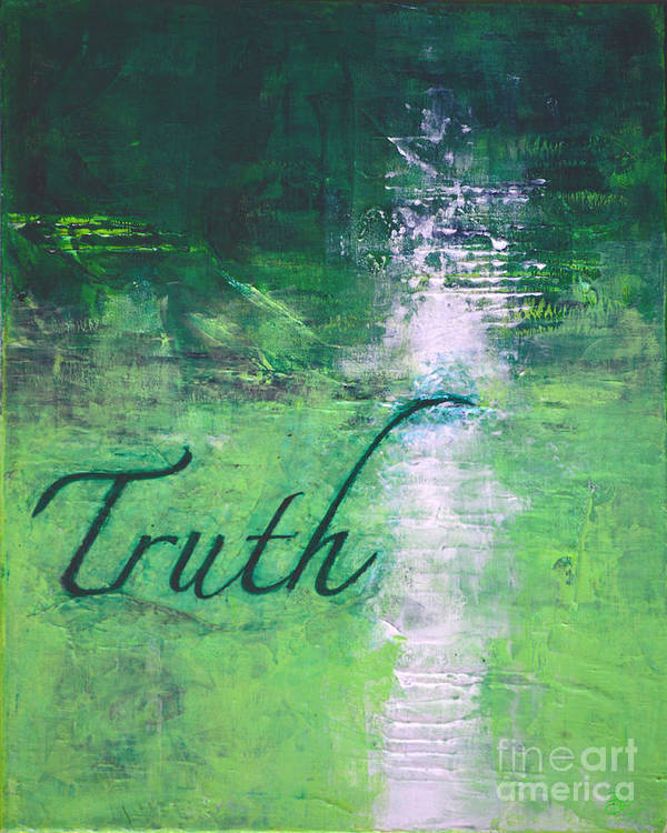 Abstract Painting Paintings Art Print featuring the painting Truth - Emerald Green Abstract By Chakramoon by Belinda Capol