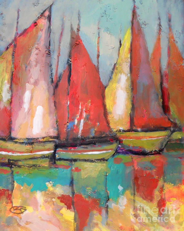 Boats Art Print featuring the painting Tuna Boats by Kip Decker