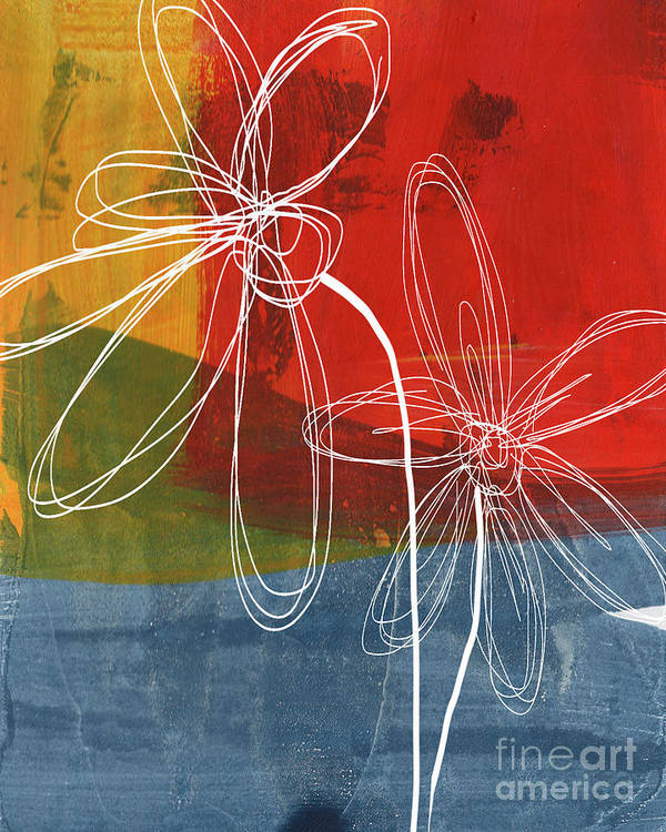 Abstract Art Print featuring the painting Two Flowers by Linda Woods