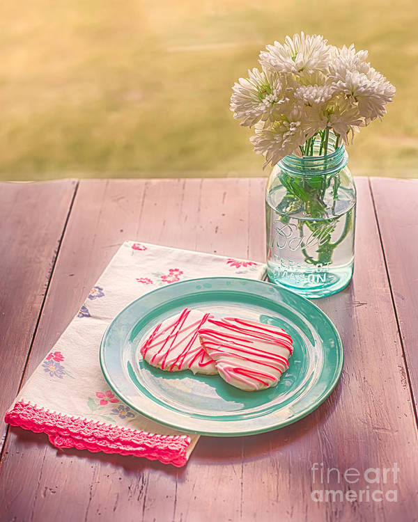 Hearts Art Print featuring the photograph Two Hearts Picnic by Kay Pickens