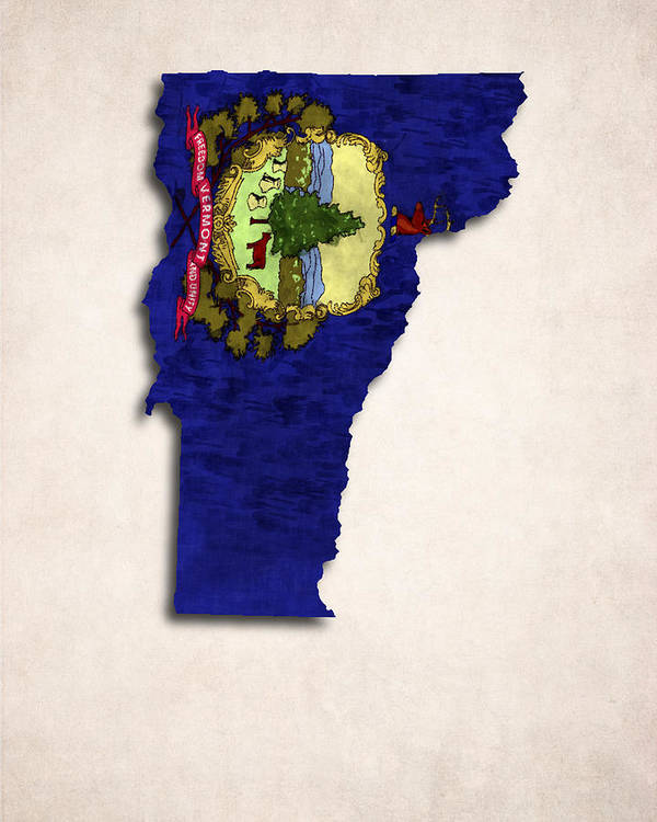 America Art Print featuring the digital art Vermont Map Art With Flag Design by World Art Prints And Designs