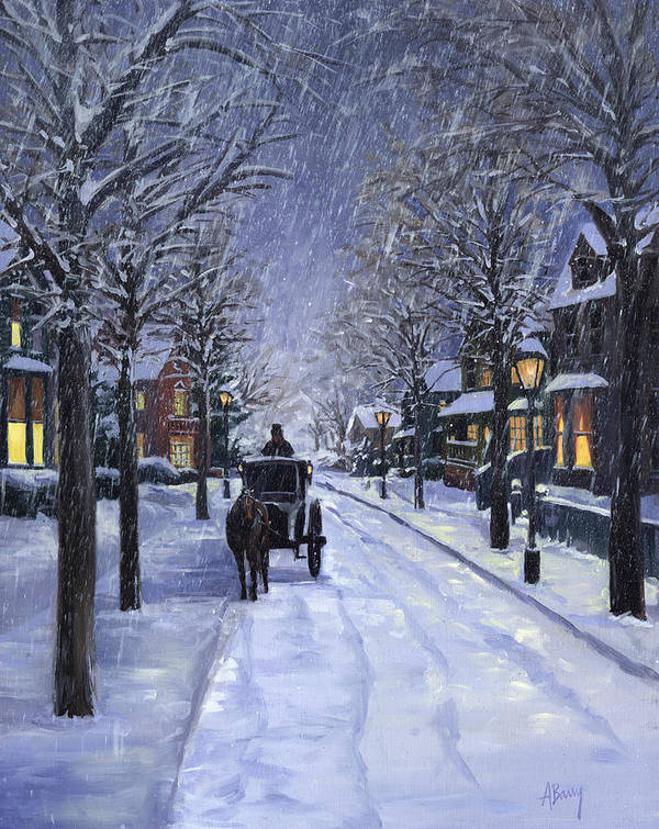 Winter Print featuring the painting Victorian Snow by Alecia Underhill