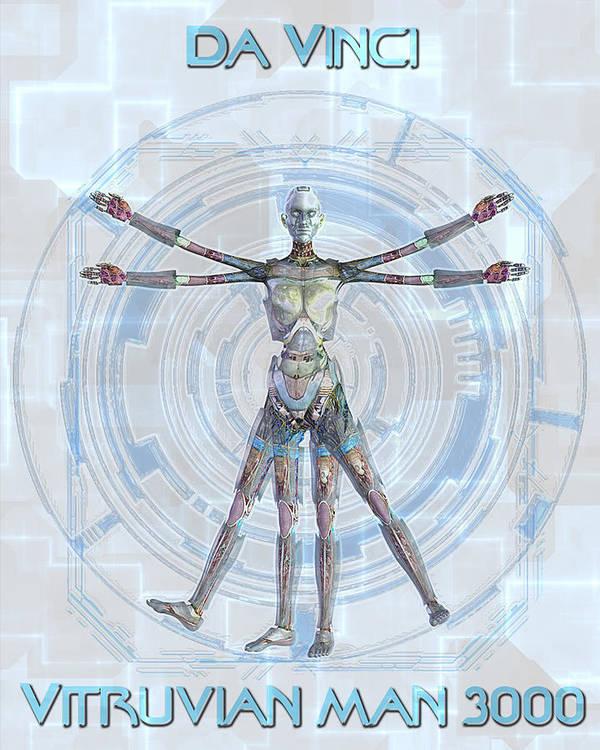 Robot Art Print featuring the digital art Vitruvian Man 3000 by Frederico Borges