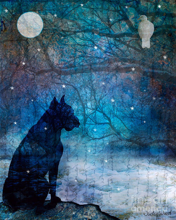 Dog Art Print featuring the digital art Waiting By The Night River by Judy Wood