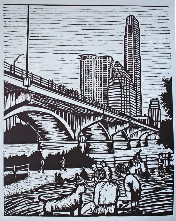 Austin. Bats Art Print featuring the drawing Waiting For The Bats by William Cauthern