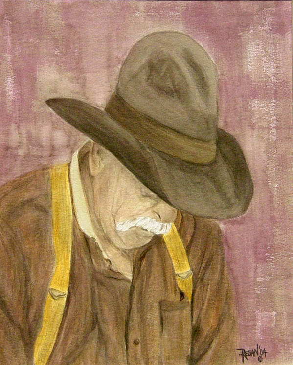 Western Art Print featuring the painting Walter by Regan J Smith