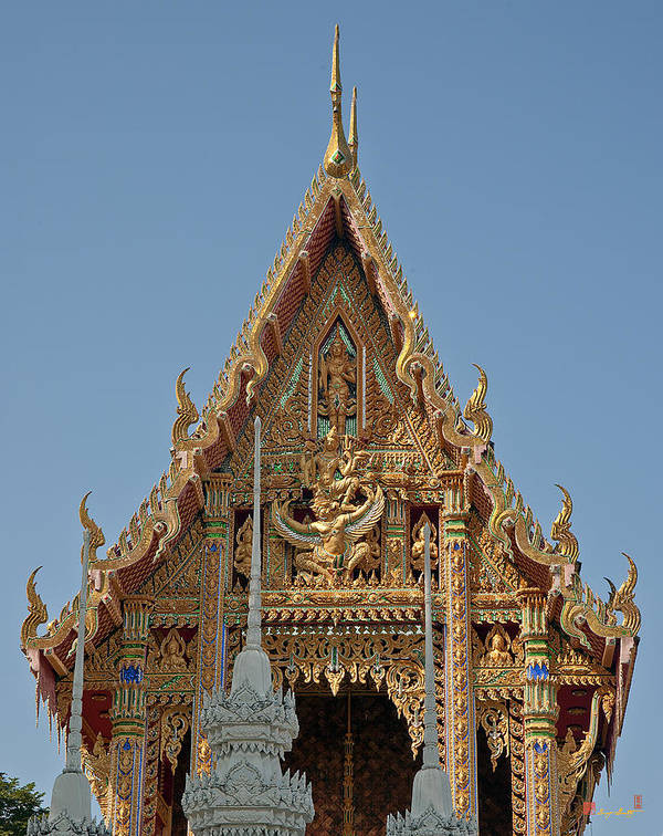 Scenic Art Print featuring the photograph Wat Na Kwai Ubosot Front Gable Dthu161 by Gerry Gantt
