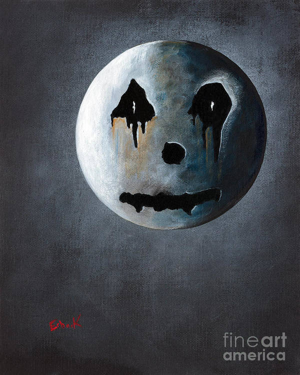 Moon Art Print featuring the painting What It's Like Without You - Gothic By Shawna Erback by Shawna Erback