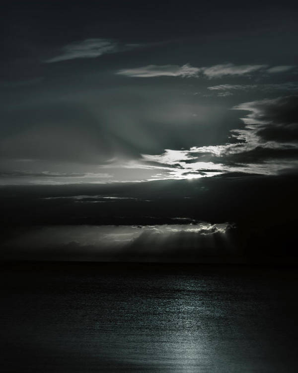 Ocean Art Print featuring the photograph When The Sun Goes Down... by Mario Celzner