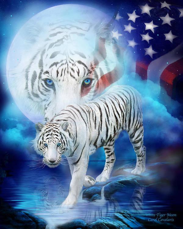 Carol Cavalaris Art Print featuring the mixed media White Tiger Moon - Patriotic by Carol Cavalaris