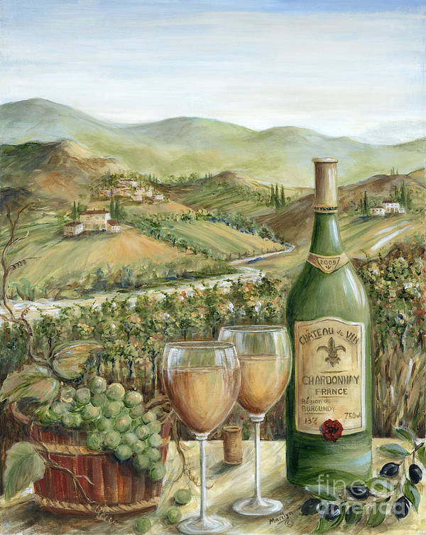Wine Art Print featuring the painting White Wine Lovers by Marilyn Dunlap