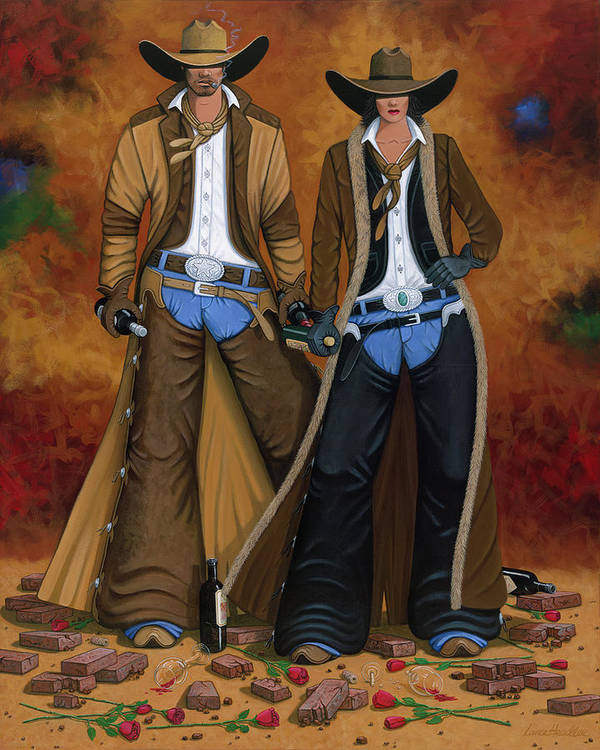 Cowgirl Art Print featuring the painting Wine And Roses by Lance Headlee
