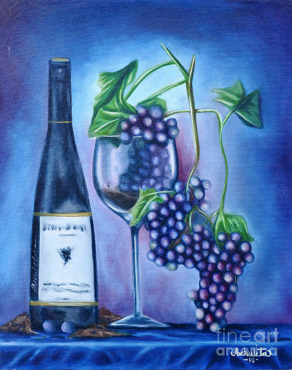Wine Art Print featuring the painting Wine Dance by Ruben Archuleta - Art Gallery