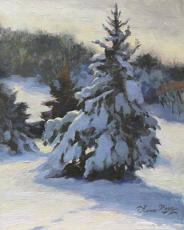 Trees Print featuring the painting Winter Adornments by Anna Rose Bain