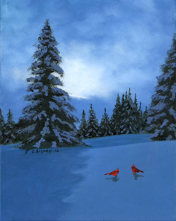 Winter Snow Christmas Card Oil Painting Original Cecilia Brendel Canvas Cardinals Holiday Greetings Cards Ever Greens Forest Trees Snowy Snow Night Mountains Smokey Art Print featuring the painting Winter Christmas Card 2012 by Cecilia Brendel
