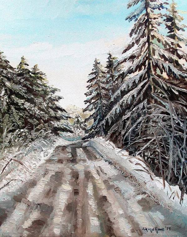 Tree Art Print featuring the painting Winter In The Boons by Shana Rowe Jackson