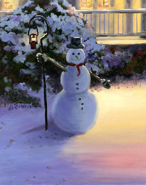 Winter Scene Snowman Light House Painting Oil Massonite Board Cecilia Brendel Thomas Kinkade Art Print featuring the painting Winter Snow Man by Cecilia Brendel