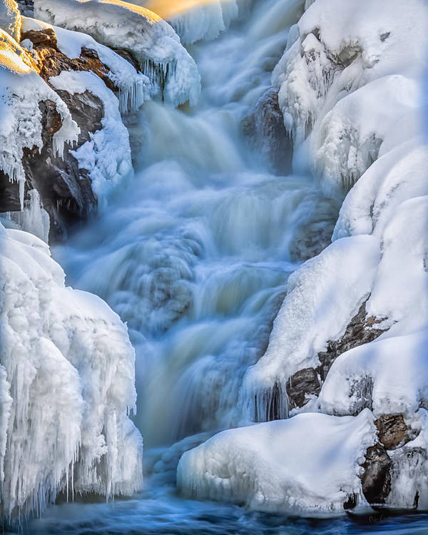 Auburn Art Print featuring the photograph Winter Sunrise Great Falls by Bob Orsillo