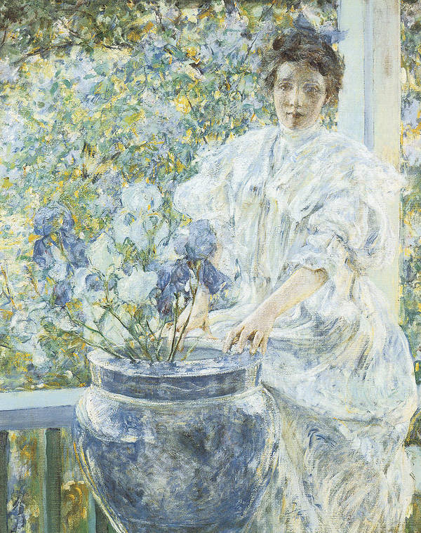Robert Reid Art Print featuring the painting Woman With A Vase Of Irises by Robert Reid