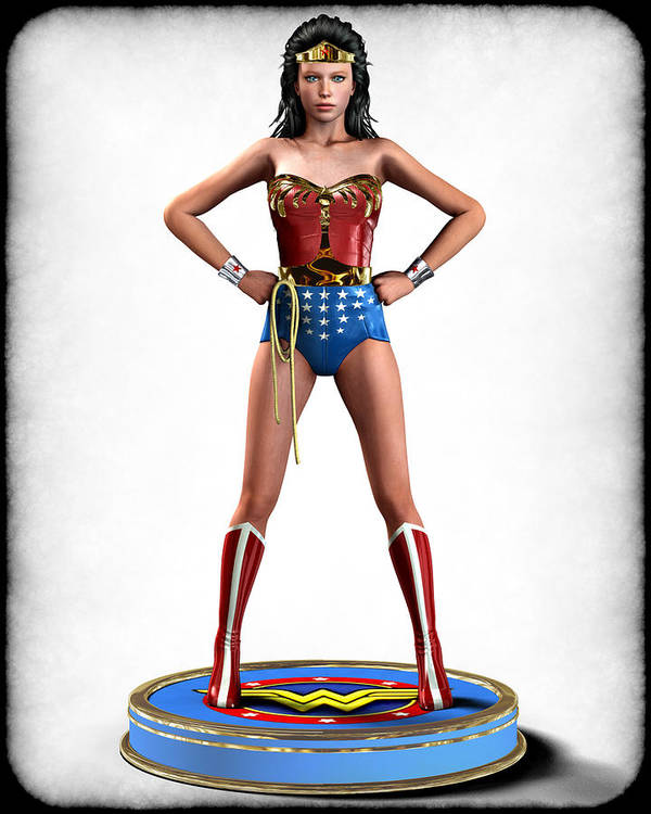 Woman Print featuring the digital art Wonder Woman Retro by Frederico Borges