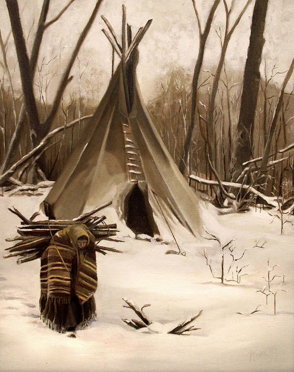 Native American Art Print featuring the painting Wood Gatherer by Nancy Griswold