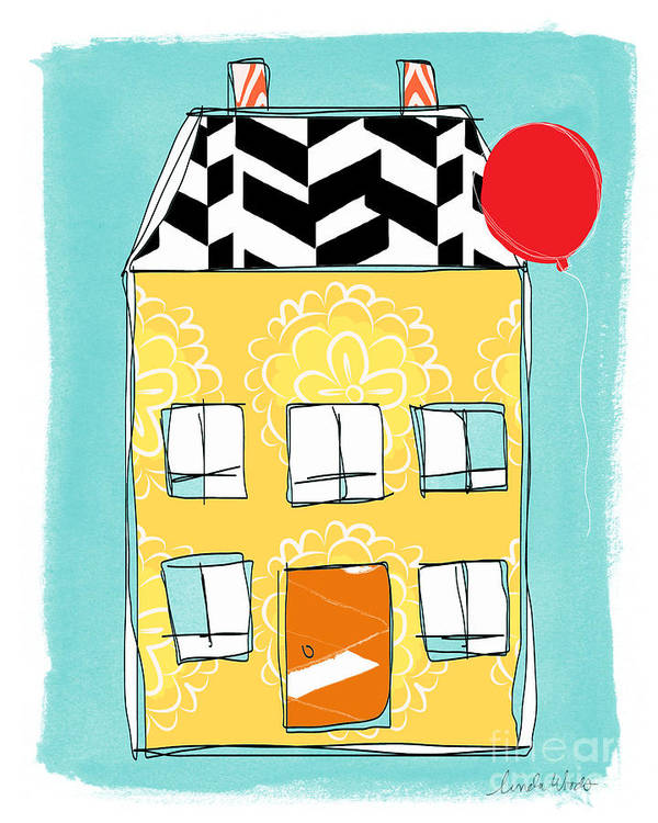 House Art Print featuring the painting Yellow Flower House by Linda Woods