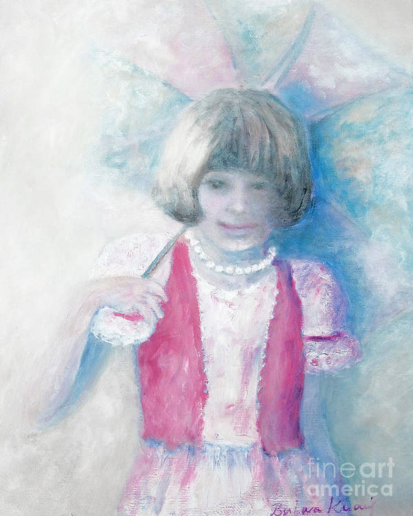 Child Portrait Art Print featuring the painting Young Girl With Umbrella by Barbara Anna Knauf