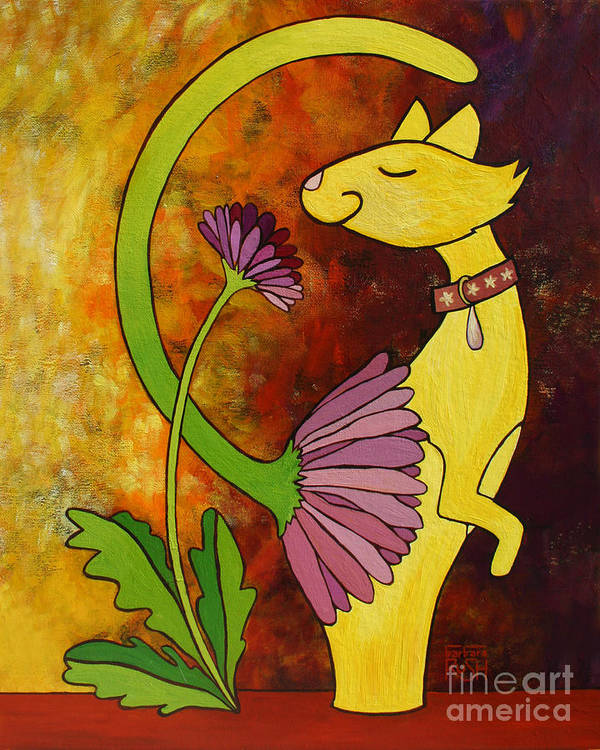 Whimsical Cat Art Print featuring the painting Your Regular Garden Variety Kinda Cat by Barbara Rush