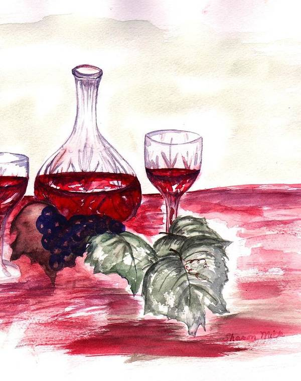 Sharon Mick Art Print featuring the painting Red Wine by Sharon Mick