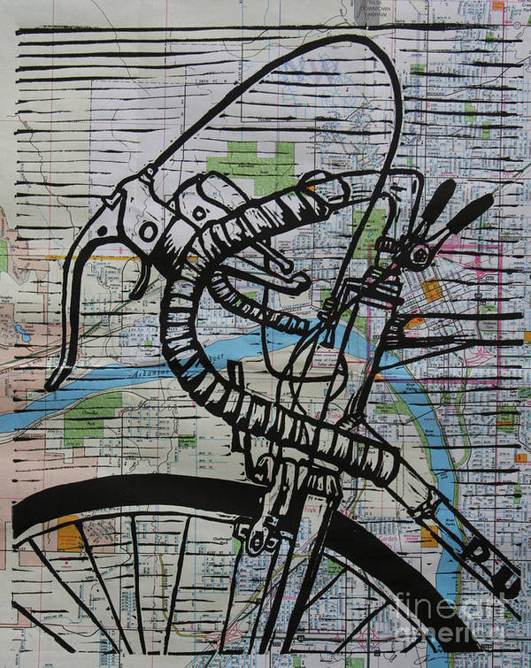 Print Art Print featuring the drawing Bike 2 On Map by William Cauthern