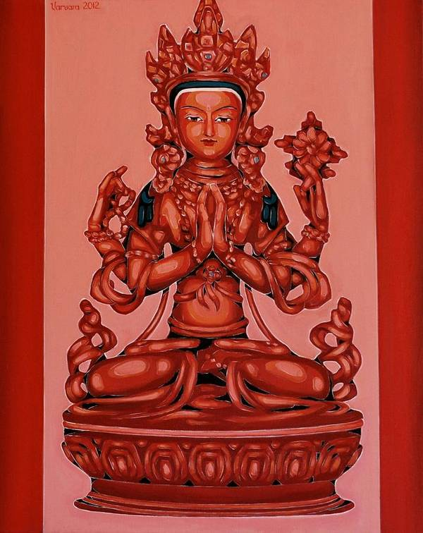 Art Print featuring the painting Buddha Of Compassion by Varvara Stylidou