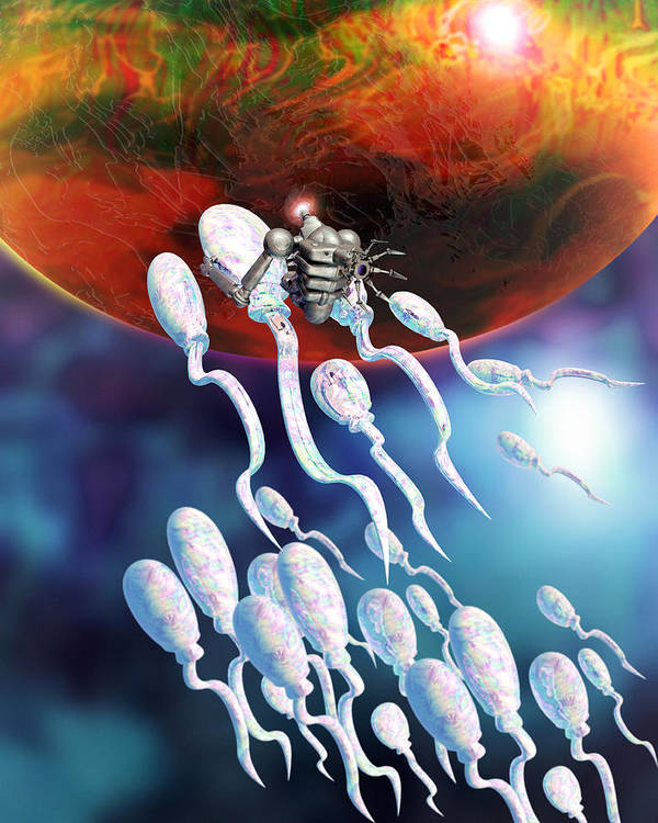 Technology Art Print featuring the photograph Medical Nanorobot On Sperm Cell by Victor Habbick Visions