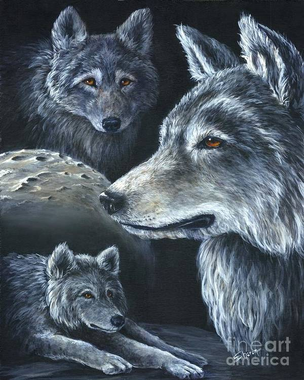 Wolf Art Print featuring the painting Wolf Trio by Sharon Molinaro