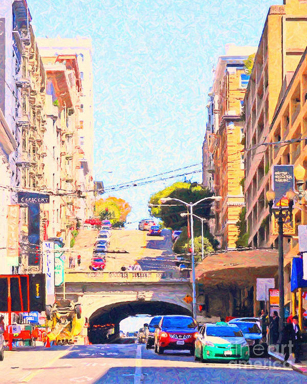 San Francisco Print featuring the photograph Stockton Street Tunnel In San Francisco by Wingsdomain Art and Photography