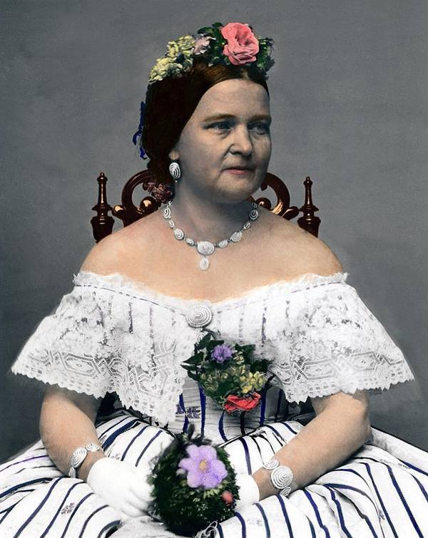 History Art Print featuring the photograph Mary Todd Lincoln 1818-1882, Wife by Everett