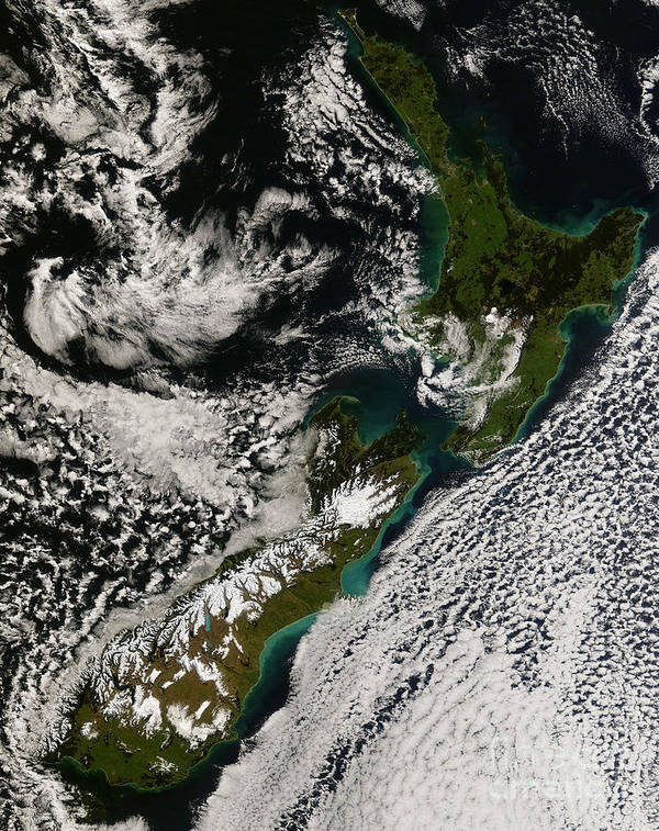 Landmass Art Print featuring the photograph Satellite View Of New Zealand by Stocktrek Images