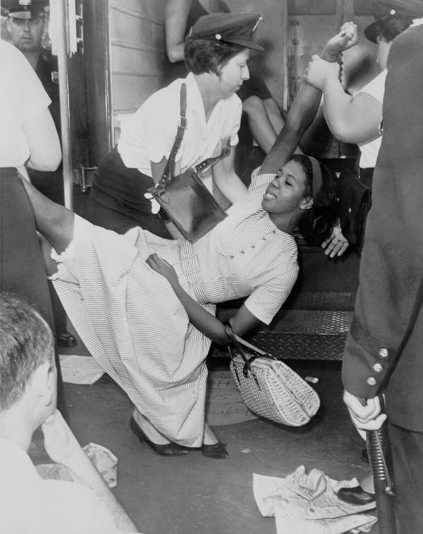 History Art Print featuring the photograph African American Woman Resisting by Everett
