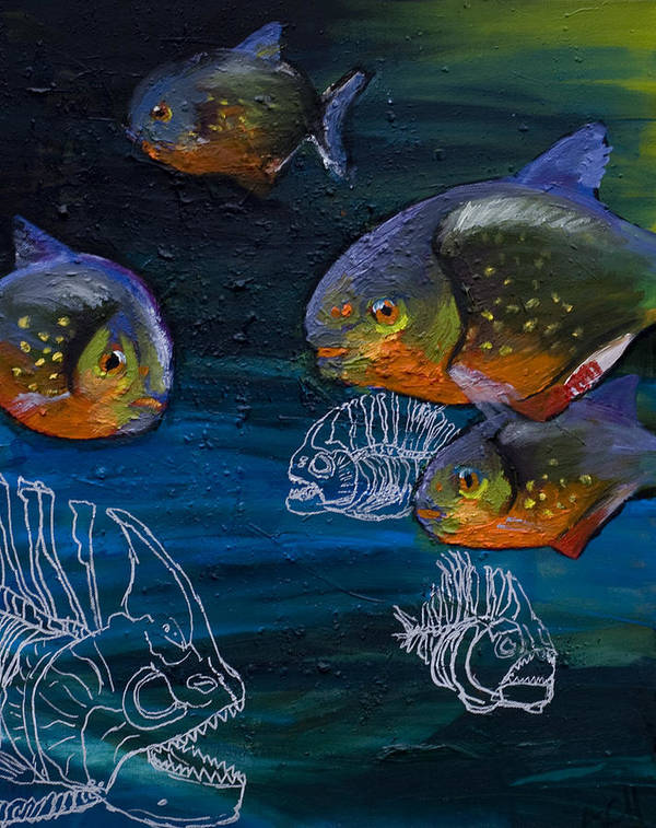 Fish Art Print featuring the painting Ambiguity by Anthony Cavins