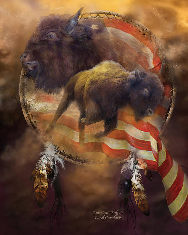 Carol Cavalaris Art Print featuring the mixed media American Buffalo by Carol Cavalaris