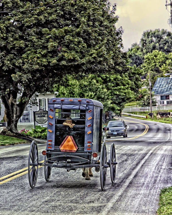 Country Road Art Print featuring the photograph Amish Girl by Madeline Ellis