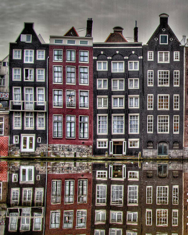 Amsterdam Art Print featuring the photograph Amsterdam Reflections Hdr by Bill Lindsay
