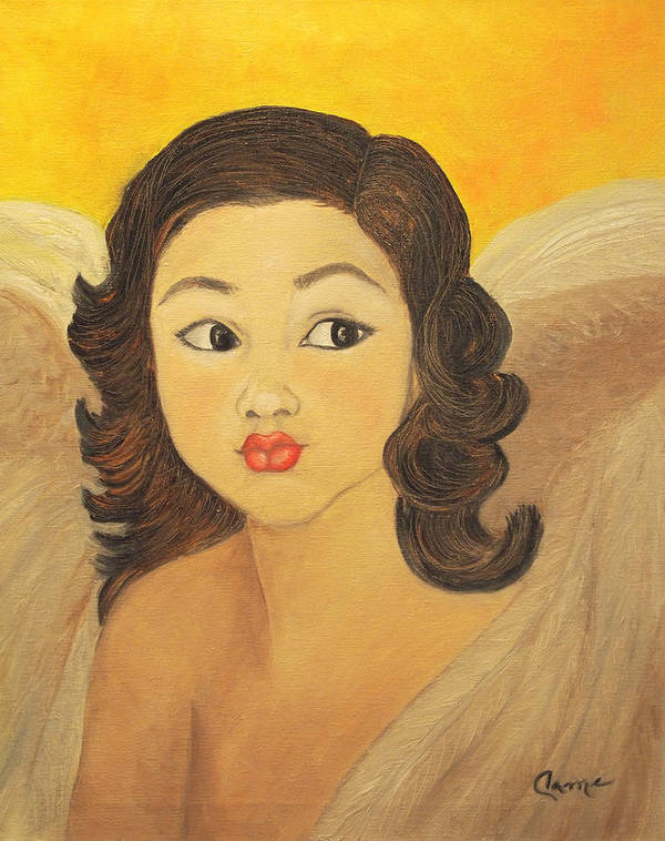 Angel Art Print featuring the painting Angelito Travieso by Veronica Zimmerman