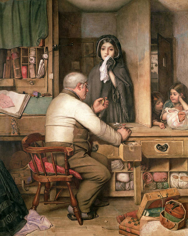 Female;violin;widow;pawnbroker;loan;poverty;pawning;distraught;poor;victorian;widows Weeds;mourning;office;desk;money;preteur Sur Gages Print featuring the painting At The Pawnbroker by Thomas Reynolds Lamont