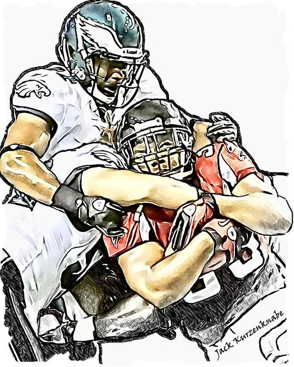 Atlanta Falcons Art Print featuring the digital art Atlanta Falcons Philadelphia Eagles Brian Rolle And Jarrad Page by Jack K
