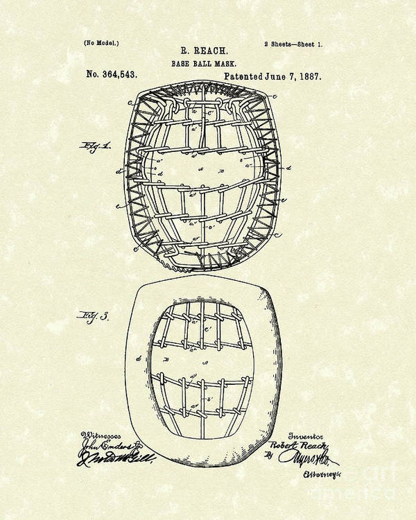 Baseball Print featuring the drawing Baseball Mask 1887 Patent Art by Prior Art Design