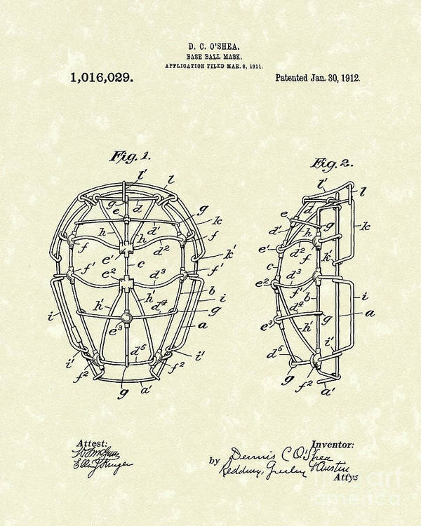 Baseball Print featuring the drawing Baseball Mask 1912 Patent Art by Prior Art Design