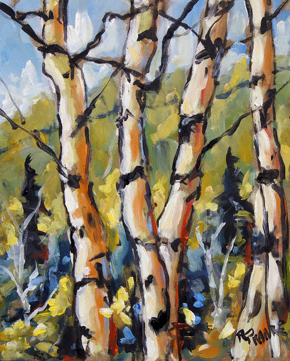 Art Art Print featuring the painting Birches Aglow By Prankearts by Richard T Pranke