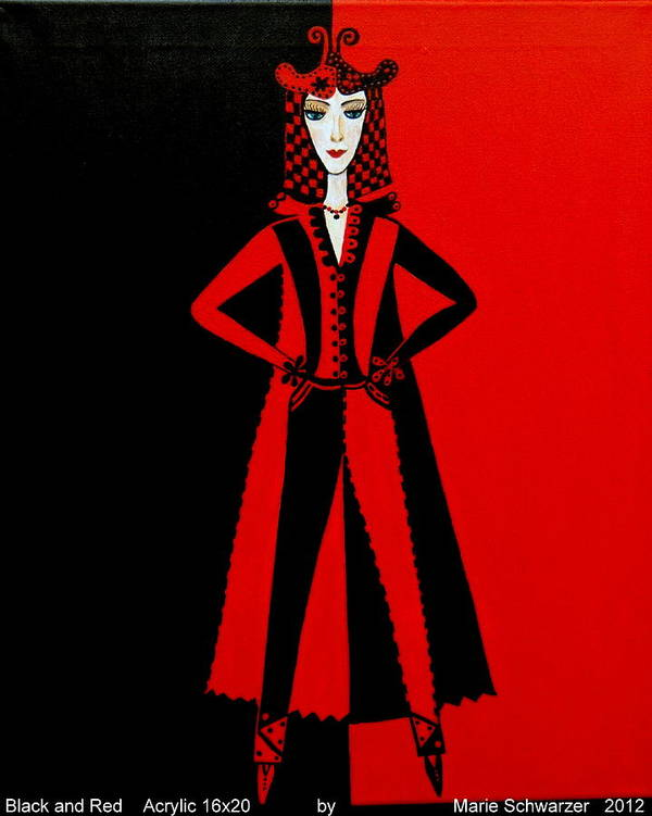 Gift Art Print featuring the painting Black And Red by Marie Schwarzer