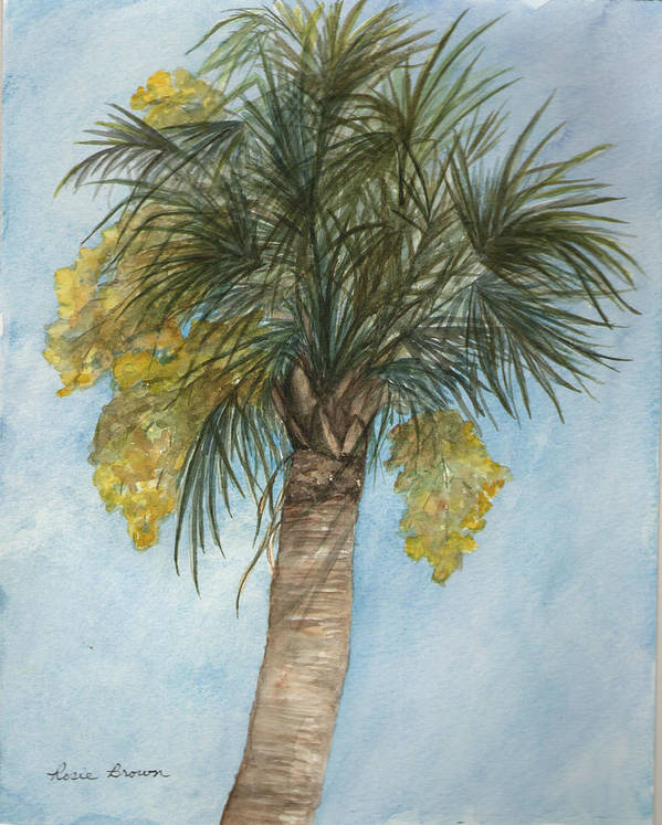 Palm Art Print featuring the painting Blooming Palm by Rosie Brown