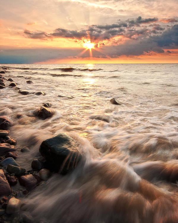 Darren Creighton Art Print featuring the photograph Bluffs Beach Sunset 3 by Darren Creighton